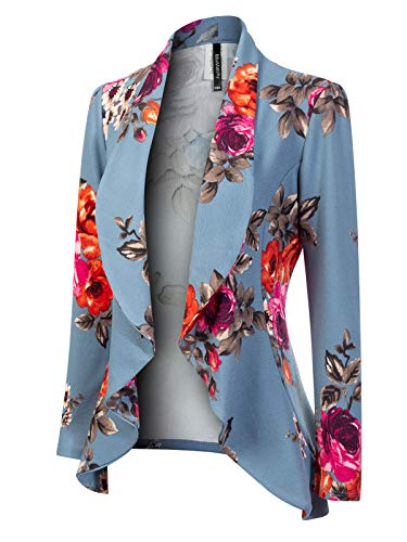 Flower Print Zipper - MixMatchy Women's [Made in USA] Solid Formal Style Open Front Long Sleeves Blazer (S-3X) L. Blue Flower Print 1XL