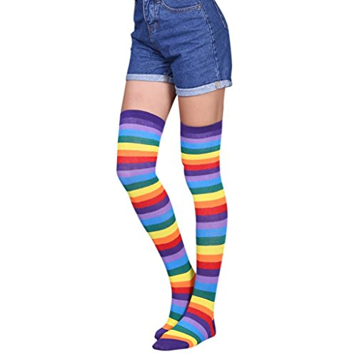 Clearance! Napoo Women Stripe Rainbow Thigh High Over The Knee Socks Long Stockings (A)