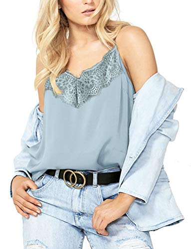 Women's V Neck Cami Tank Top Spaghetti Straps Lace Trim Camisole Sleeveless Tops (Light Blue, Small)