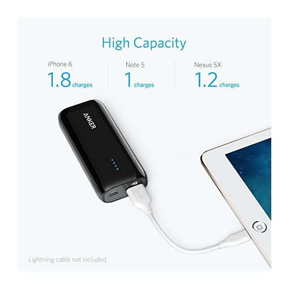Anker Astro E1 5200mAh Candy bar-Sized Ultra Compact Portable Charger (External Battery Power Bank) with High-Speed Charging PowerIQ Technology (White) 2 The Anker Advantage: Join the 20 million+ powered by our leading technology. Exclusive PowerIQ Technology: Detects your device to deliver its fastest possible charge speed up to 2 amps (four times faster than a computer USB port). Does not support Qualcomm Quick Charge High Capacity: Add almost two full charges to an iPhone 7 or 6s or at least one full charge to a 7 Plus, Galaxy S7, Nexus 5 or other smartphone. Or almost a 70% charge to an iPad mini 3.