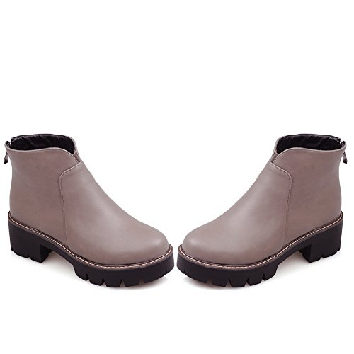A Imitated Zipper Boots Back amp;N Chunky Heels Womens Gray Platform Leather qwnrqO1