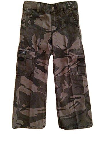 Wrangler Boys Camo Cargo Pants Classic Twill (4 Regular, Grey Camo)