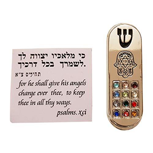 Talisman4U Protection CAR MEZUZAH with Travelers Prayer Scroll Hamsa Hoshen Mezuza from Israel Jerusalem Art Judaica Gift