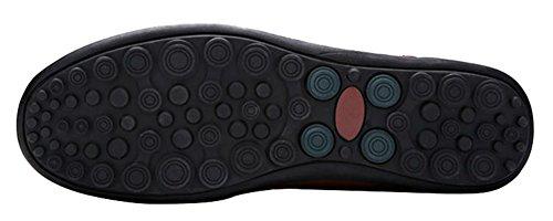 Louechy Mens Liberva Slip-on Dagdrivaren Skor Komfort Driver Skor Läder Tillfälligt Sko Svart Punch