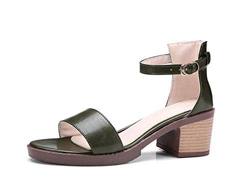 Hebilla de Zapatos Green Sandalias la 5cm Mujeres 41 ARMYGREEN Army XIE Verano 33 Trabajo 34 de del Compras PU 38 Las Estudiante 4XFnvwfxq