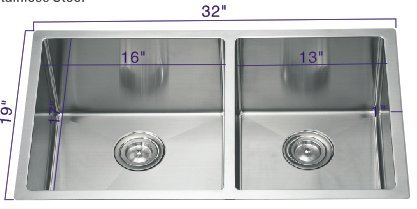 19' Undermount Sink (R321964 32''19''10'' Undermount 60/40 Radius Bowl 18 Gauge Stainless Steel Hand Made Sink)