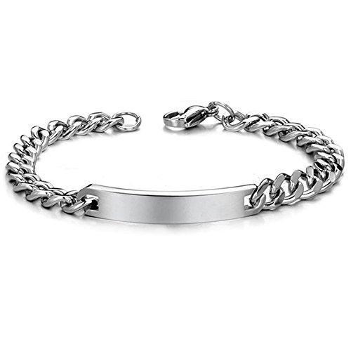 NEHZUS Men's Customized Name Bar Stainless Steel ID Bracelet (Men's)
