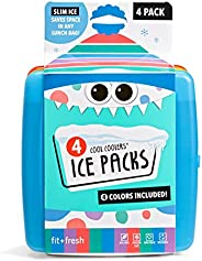 Fit & Fresh Cool Coolers Slim Lunch Ice Packs, Multicol