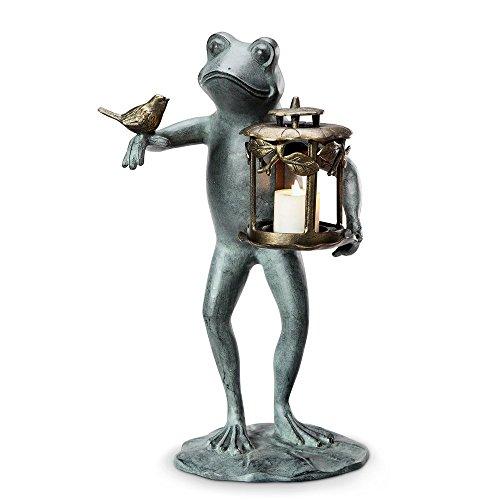 Aluminum Frog and Bird Garden Lantern (Frog Candle Lantern)