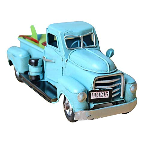 Livoty Vintage Looking Antique Handcrafted Truck Vehicle Car Model Christmas Ornament Kids Xmas Gifts Toy Table Top Decor (Blue) from Livotyy