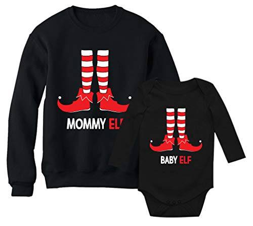 (Mommy Elf Sweatshirt & Baby Elf Bodysuit Santa's Helpers Christmas Matching Set Mom Black Medium/Baby Black NB (0-3M) )