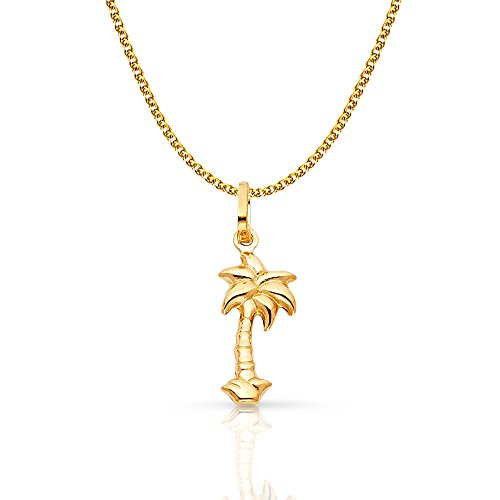 14k Gold Palm Tree Charm - 14K Yellow Gold Palm Tree Charm Pendant with 1.2mm Flat Open Wheat Chain Necklace - 20