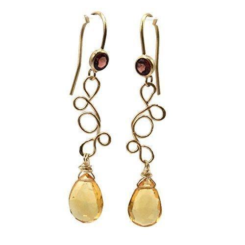 Fancy Citrine Garnet Gemstone Earrings | Genuine Gemstone Jewelry | Unique Love Gifts For Mom Handcrafted Garnet Love Earrings