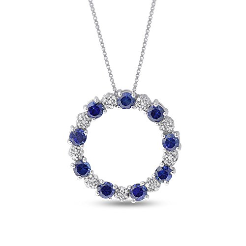 Sterling Silver Diamond and Created Blue Sapphire Circle Necklace Pendant (1/3 CTTW)