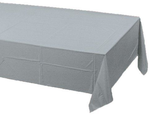 Poly Lined Tablecloths (Creative Converting Touch of Color Plastic Lined Table Cover, 54 by 108-Inch, Shimmering Silver)