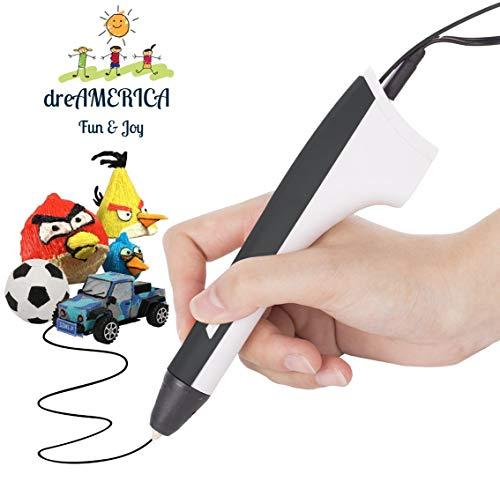 3D Pen, 3D Printing Pen, 3D Printer Pen, 3D Drawing Pen for Kids, Adults, Friends Compatible with PLA Filament,Doodling, Artist, DIY, Drawing, Blue 3D Pen, Black