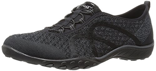 Skechers Sport Women's Breathe Easy Fortune Fashion Sneaker,Black Knit,8 M US