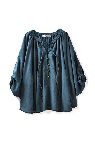 博物館運命的なに同意するブルー ブラック プラネット 袖スリットデザインのポンチョプルオーバー(ブルーグリーン)