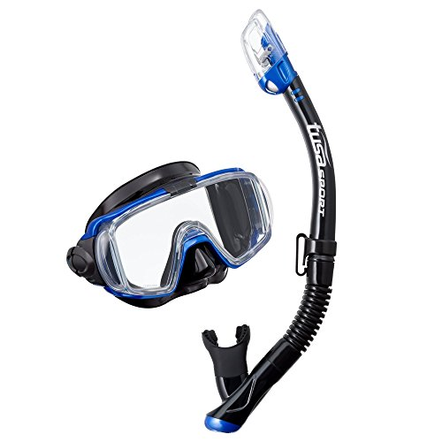 TUSA Sport Visio Tri-Ex Black Series Mask & Snorkel Combo, Black/Metallic - Run Sports And Tri