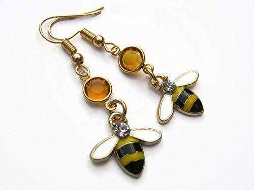 (Enameled Bee Birthstone Earrings, Gold Tone Queen Earrings with Rhinestones, Personalized Jewelry, White Wings)