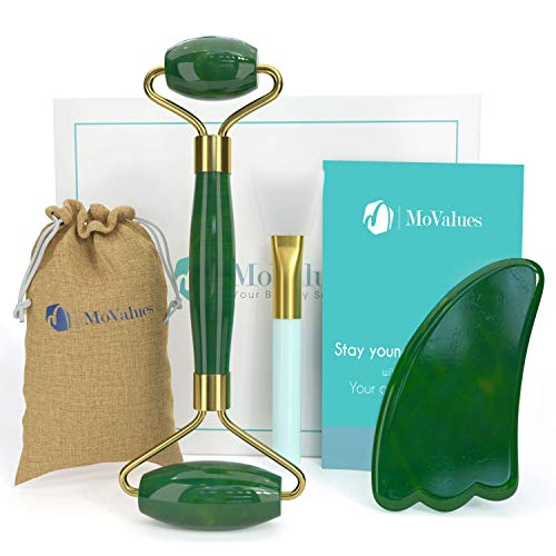 Authentic Jade Roller and Gua Sha Set - Jade Roller for Face - Face Roller, Real 100% Jade - Face Massager for Wrinkles, Anti Aging Facial Massager - Authentic, Natural, Durable, Noiseless (Jade Massage Roller Face)