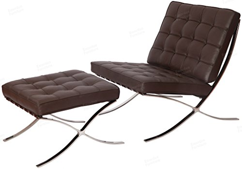 Barcelona Chair & Ottoman with Stainless Steel Frame and High Density Foam Cushions in Dark Brown Aniline Leather. (Replica Chairs Cheap)
