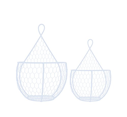 J Miles CO Useful UH-WB234 Double Hanging Display Storage Baskets - Pair of Wall Mount Baskets 1 Large 1 Small Wall Hanging Units for Flowers, Fruits and Veggies, Decorations, and More