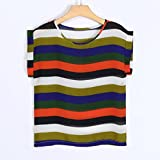 vermers Clearance ! Summer Women Tee Casual Striped O-neck Chiffon Tank Blouse Shirt Top (XL, Multicolor)