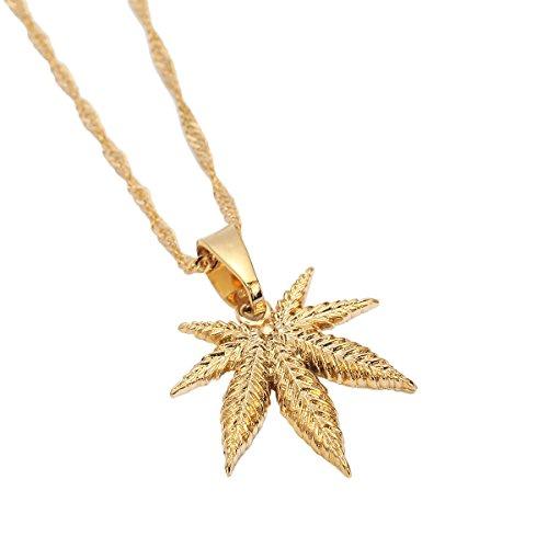 r Jewelry Cannabis Weed Marijuana Leaf Pendant Necklace (Gold Marijuana Leaf)
