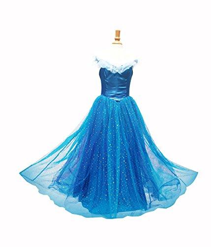 Disney Dresses For Women (Women Princess Cinderella Blue Disney Movie Dress Evening Gown Prom Costume Halloween Party Cosplay Adult (M))