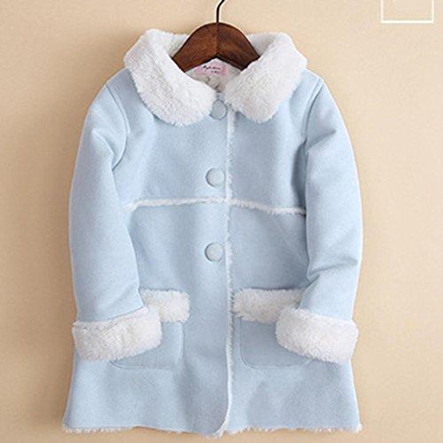 Franterd Baby Girls Winter Jacket Fur Collar Solid Warm Winter Thickening Fur Inside Coats (Blue, 3T) by Franterd (Image #3)'