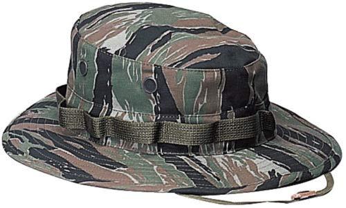 ArmUni Boonie Hat Tactical Military Camo Bucket Wide Brim Sun Fishing Bush Booney Cap (Tiger Stripe Camouflage, 7.5)