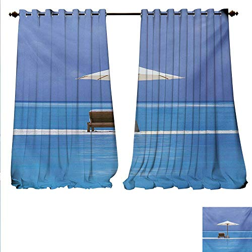 familytaste Drapes for Living Room Beach Chairs and Umbrella on A Island in The Middle of Ocean Seascape Picture Window Curtain Drape W72 x L108 Blue and Beige.jpg