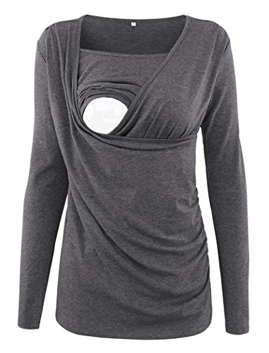 Ecavus Women's Ruched Side-Shirred Nursing Top Short Long Sleeve Breastfeeding Tee Shirt Charcoal