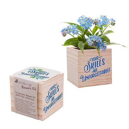 Real Desk Plant for The Office - Blue Forget-Me-Not Plant Seed Packet, Peat Pellet, and Natural Pine Wooden 3x3 inch Cube Planter - Employee Appreciation Gift -