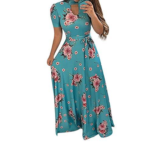 (Women Dress, Women Casual Dresses Womens Fashion Casual Floral Printed Maxi Dress Short Sleeve Party Long Dress)