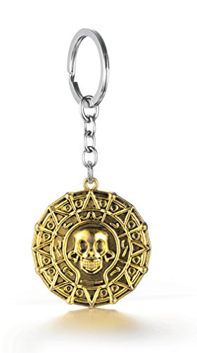 REINDEAR Pirates Of The Caribbean Movies Cursed Aztec Cortez Coin Pendant Keychain US Seller (Gold)