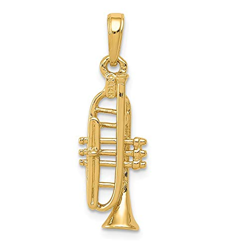 14k Yellow Gold Solid 3 Dimensional Trumpet Pendant Charm Necklace Man Musical Instrument Fine Jewelry Gift For Dad Mens For -