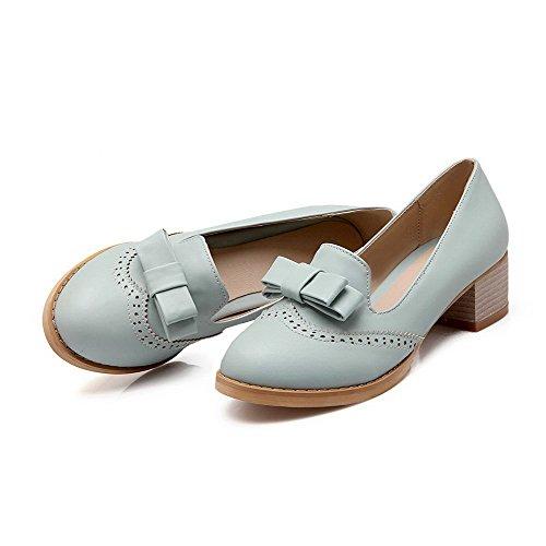 Amoonyfashion Womens Pu Solide Pull On Tacco Tacco Gattino Tacchi Scarpe-scarpe Blu