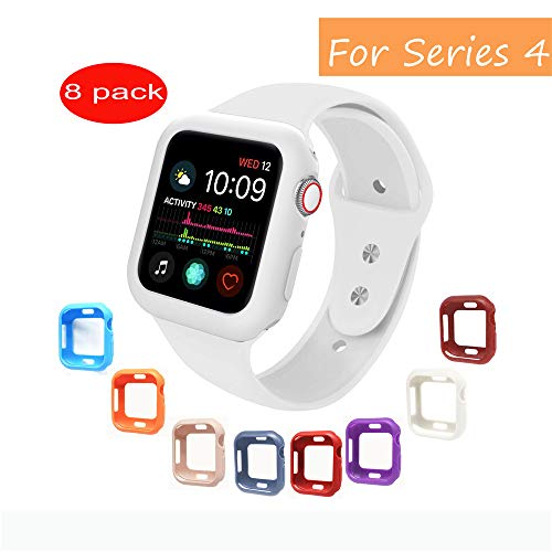 V1TAKE Compatible with Apple Watch Case Series 4 44mm, [8 Color Pack] Soft TPU Shock Proof and Shatter-Resistant Protective Bumper Protector Case Replacement for iWatch Series 4 ([8 pack] TPU-B, 44mm)