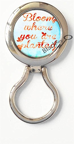 BlackKey Bloom Where You are Planted Quote Magnetic Metal Eyeglass Badge Holder, Eye Glass Holding Brooch -726