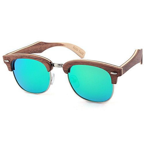 hechas a la UV de de Retro alta sol conduce de de la que de mano decoración de de gafas madera protección semi los gafas Verde Beach Sung sol polarizadas Remache de calidad reborde sol sin gafas hombres las qgBgwE