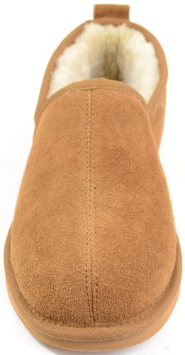 Mens Hard Chestnut Sheepskin Sole 6 Genuine Size Slipper Lined with BycwBZYUqr