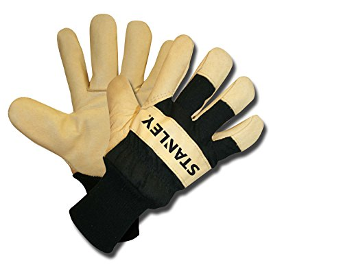 Stanley S89324 Grain Pigskin Leather Palm with a Canvas Back and a White Fleece Lining, X-Large (Pig Measure Tape)