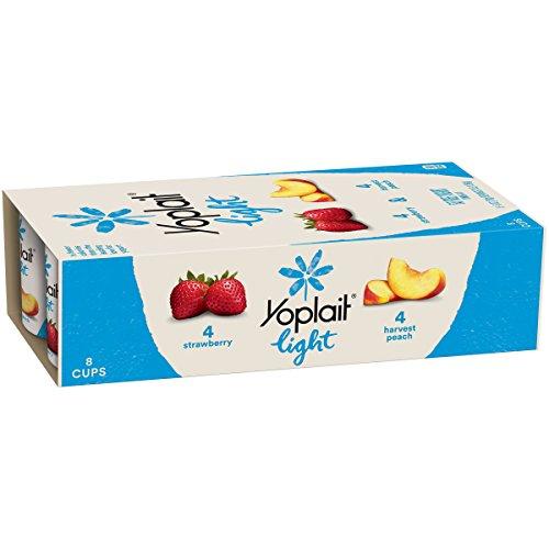 Yoplait Light Yogurt, Fat Free Yogurt, Strawberry & Harvest Peach, Variety Pack, 8 Cups, 6.0 oz Each