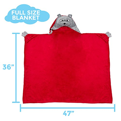 Comfy Critters Stuffed Animal Blanket – College Mascot, University of Georgia 'Hairy Dawg' – Kids huggable pillow and blanket perfect for the big game, tailgating, pretend play, travel, and much more by Comfy Critters (Image #2)