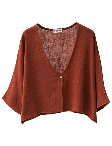 IDEALSANXUN Womens Cotton Linen Loose Short Cardigan Shrug (Rust (Linen Shrug)