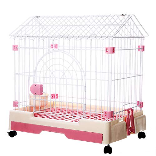 LTLJX Pet Dog Crate, Home Puppy Playpen Metal Dog Pen Rabbits Guinea Pigs Ducks Small Animals Run Transport Crate Triangle House,Pink,76×54×72cm