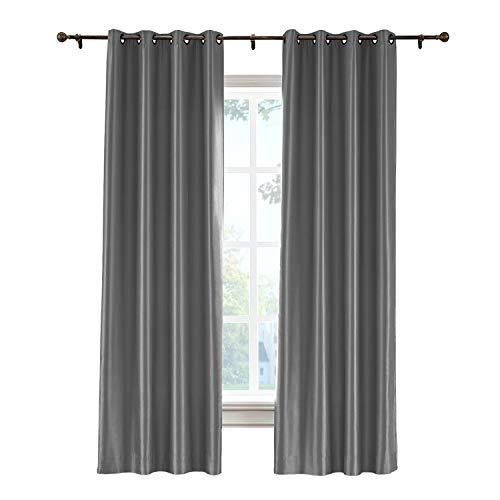 cololeaf Vintage Textured Faux Dupioni Silk Curtain Panel for Bedroom Living Room Hotel Restaurant, Dark Grey 52W x 96L Inch (1 Panel) (Dupioni Silk Striped Drapes)