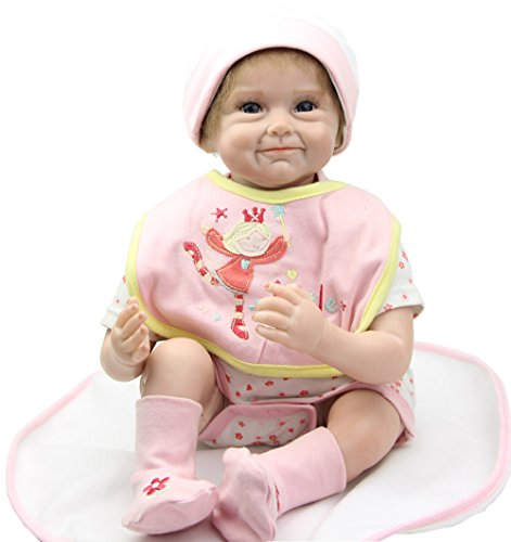 NPK 22 Inch Collectible Reborn Baby Dolls Silicone Soft Babies Girl Doll Children Birthday Gift Free Magnet Pacifier Dummy